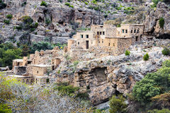 Ruinen Wadi Bani Habib Stockbilder