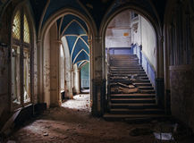 Ruines. Indoor view of an old ruined and plundered castle Royalty Free Stock Photography