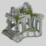 Ruines abandonnées des maisons antiques, style médiéval illustration stock