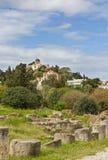 Ruines antiques d'agora et observatoire d'Athènes Image stock