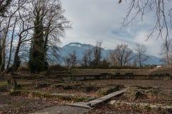 Ruines antiques d'ANNONCE du 2ème siècle de Roman Theater Dion Archaeologica Photo libre de droits