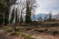 Ruines antiques d'ANNONCE du 2ème siècle de Roman Theater Dion Archaeologica Image libre de droits