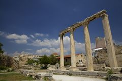 Ruines antiques de Grec d'agora Photos stock