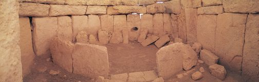 Ruines antiques de Hagar Qim Photographie stock