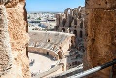 Ruines antiques de l'amphithéâtre pour le combat de gladiateurs Image libre de droits