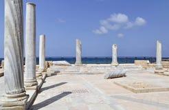 Ruines antiques de mosaïque de Césarée en Israël Image stock