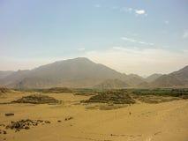 Ruines antiques de Supe de civilisation de ville de Caral Images libres de droits