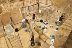 Ruines antiques de ville d'Ephesus, course vers la Turquie Image stock
