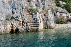 Ruines antiques sur l'île de Kekova, Turquie photos libres de droits