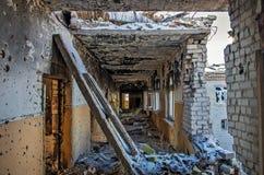 Ruines après l'ATO en Ukraine Photo libre de droits