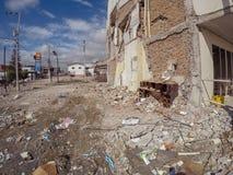 Ruines après le tremblement de terre puissant en Equateur Photo stock