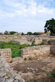 Ruines d'étage de mosaïque de la ville romaine chez Paestum Images stock