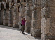 Ruines d'amphithéâtre antique dans le Pula Croatie photos stock