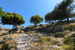 Ruines d'Angelokastro Photographie stock libre de droits