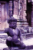 Ruines d'Angkor Wat de temple de Banteay Srei, Cambodge Photo stock