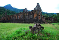 Ruines d'Antique-Khmer de Wat Phou Photographie stock libre de droits
