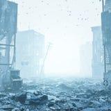 Ruines d'une ville dans un brouillard illustration de vecteur