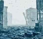 Ruines d'une ville dans un brouillard Image stock