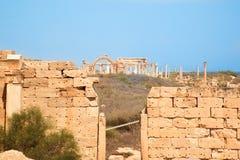 Ruines dans la Magna de Leptis, Libye Images stock