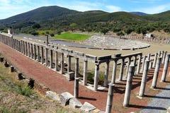 Ruines dans la ville antique de Messine, Messine, Peloponnesus, Grèce photos libres de droits