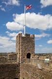 Ruines de 12ème siècle de château de Rochester Château et ruines des fortifications Kent, Angleterre du sud-est Photo stock