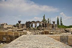 Ruines de cathédrale de Zvartnots Photos stock