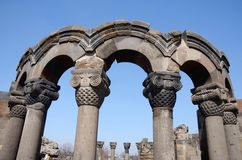 Ruines de cathédrale de Zvartnots (anges célestes), Arménie, l'UNESCO Images libres de droits