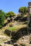 Ruines de château d'Angelokastro Photo stock