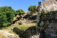 Ruines de château d'Angelokastro Images libres de droits