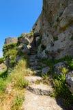Ruines de château d'Angelokastro Images stock