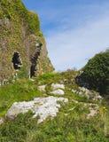 Ruines de château dans un pré vert en Irlande Image stock