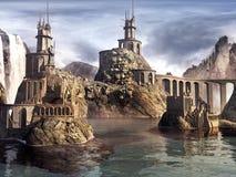 Ruines de château sur le lac Photo libre de droits