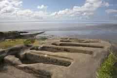 Ruines de chapelle et tombes de coupure de pierre Images libres de droits