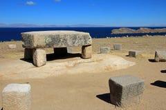 Ruines de Chincana à l'île du Sun, lac Titicaca, Bolivie Images libres de droits