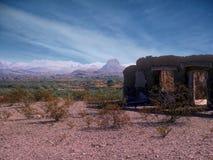 Ruines de fonte d'Adobe en parc national de grande courbure, TX, Etats-Unis photographie stock libre de droits
