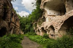 Ruines de fort de Tarakanivskiy, région de Rivne, Ukraine Photos stock