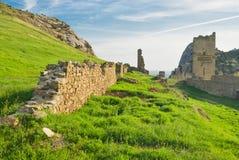 Ruines de forteresse Genoese antique dans Sudak Photos stock