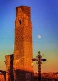 Ruines de guerre de village de Belchite dans Aragon Espagne au crépuscule Images stock