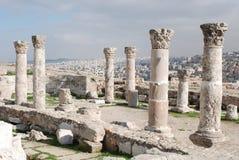 Ruines de la citadelle romaine à Amman Images stock
