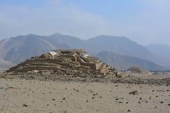 Ruines de la civilisation de Caral-Supe, Pérou Photo libre de droits