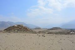 Ruines de la civilisation de Caral-Supe, Pérou Photographie stock libre de droits