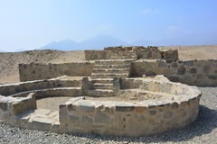 Ruines de la civilisation de Caral-Supe, Pérou images libres de droits