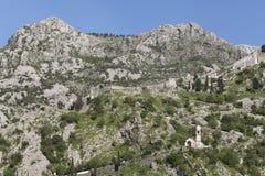 Ruines de la forteresse au-dessus de Kotor Photo libre de droits