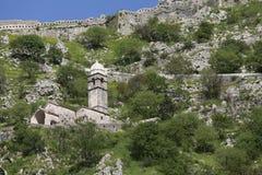Ruines de la forteresse au-dessus de Kotor Photographie stock