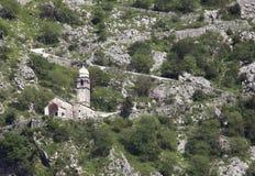 Ruines de la forteresse au-dessus de Kotor Images libres de droits
