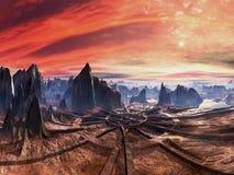 Ruines de la plateforme d'atterrissage étrangère au coucher du soleil Images stock