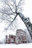 Ruines de la vieille église dans un jour d'hiver Photos stock