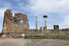 Ruines de la ville romaine Volubilis dans Marocco Photos stock
