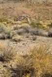 Ruines de maison en pierre abandonnée dans le paysage de désert Images stock