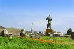 Ruines de Pompeii et statue en bronze de Daedalus parmi les pavots et l'herbe verte images libres de droits